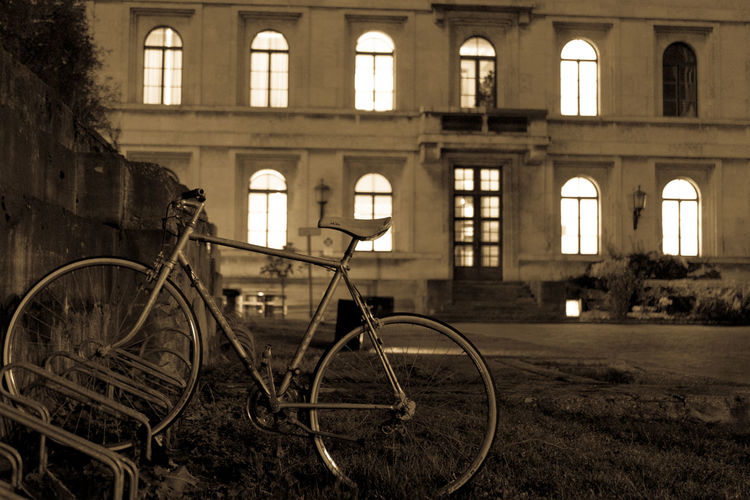 Bicycle parked in abandoned building
