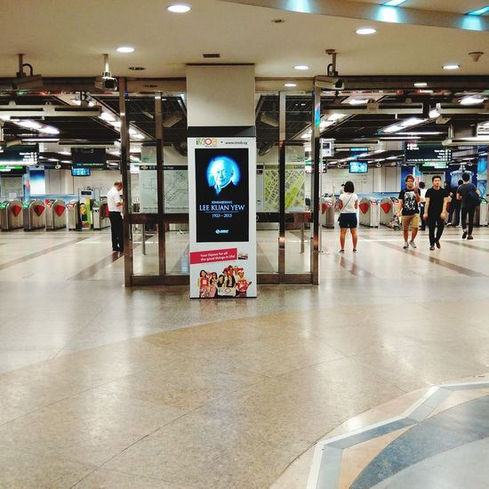 City Hall MRT station after midnight during the 7-day wake of the late Mr Lee Kuan Yew on Thu 26-Mar-2015 Lky Singapore
