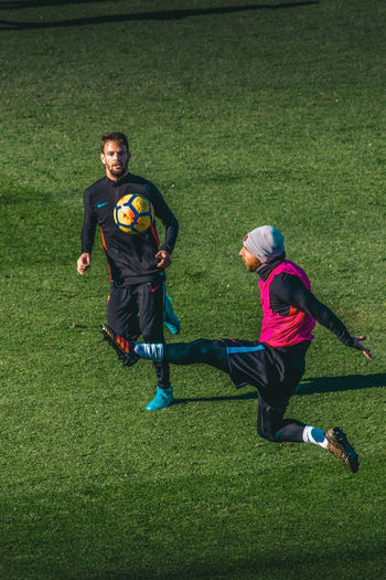Open training of FC Barcelona, Messi and his teammates Grass Full Length Two People Plant Green Color Leisure Activity Men Sport Child Childhood Males  Real People Lifestyles People Nature Day Togetherness Field Outdoors Messi FC Barcelona Lionel Messi Barcelona Barcelona, Spain