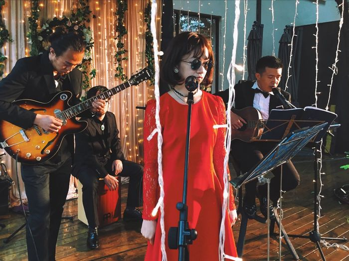 That's Me Singing Singing In The Rain Red Dress Live Music Music Is My Life Music Band My Band My Unique Style Quiet Moments