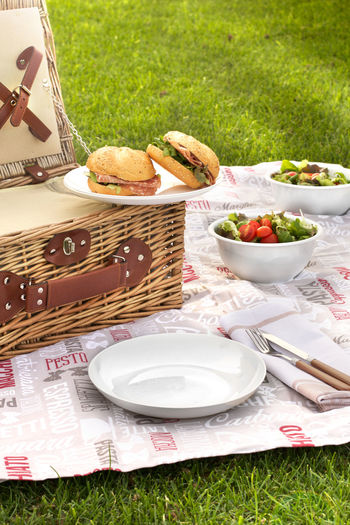 Burgers on picnic basket on field