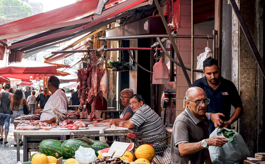 market scene in Palermo, Sicily, Italy Food And Drink Food Market Group Of People Vegetable Market Stall Real People Fruit Selling Small Business Buying Retail  Palermo Streetphotography Street Photography Sicily