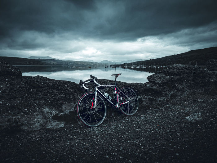 Moody Ride Storm Cloud Bicycle Mountain Puddle Sky Landscape Cloud - Sky