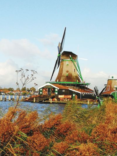 Sky Water Outdoors No People Traditional Windmill Multicolored Day Grass Orange Grass Riverbank Wind Power Rural Scene House art blue sky the coast