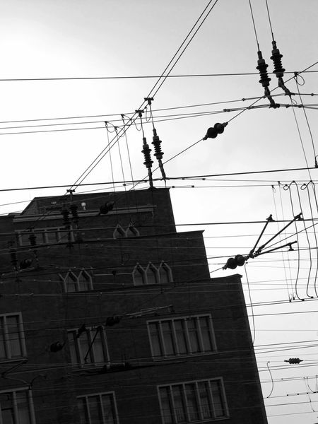 Black And White Building Cable Low Angle View Power Line  Slanted Urban Wires