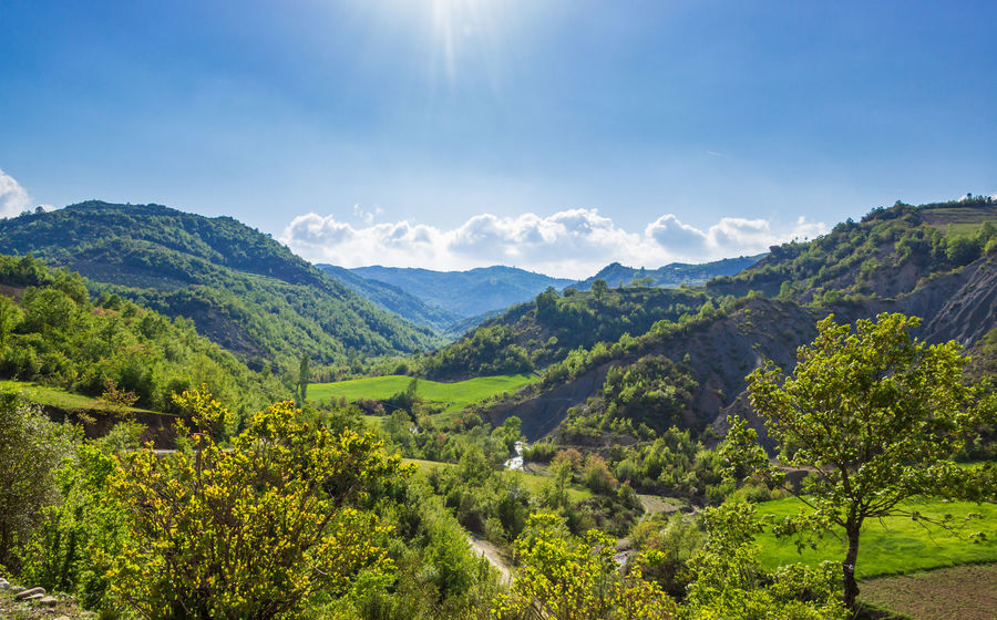 Beauty In Nature Blue Sky Cloud - Sky Day Environment Forest Green Color Green Fields Idyllic Land Landscape Lens Flare Mountain Nature Non-urban Scene Outdoors Rolling Landscape Rural Scene Scenics - Nature Sky Sunlight Sunny Day Tranquil Scene Tranquility Tree