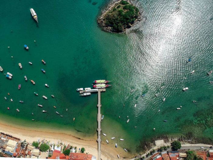 Fishing boats Nautical Vessel Water High Angle View Group Of People Nature Crowd Transportation Aerial View Travel Sea