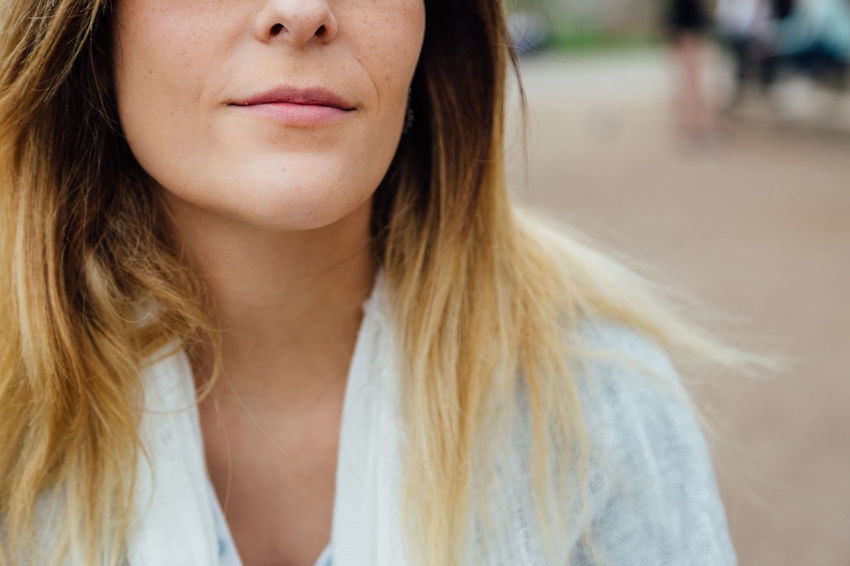 Adult Beautiful Woman Beauty Casual Clothing Close-up Contemplation Focus On Foreground Front View Hair Hairstyle Headshot Human Body Part Human Face Human Lips Long Hair One Person Portrait Smiling Women Young Adult