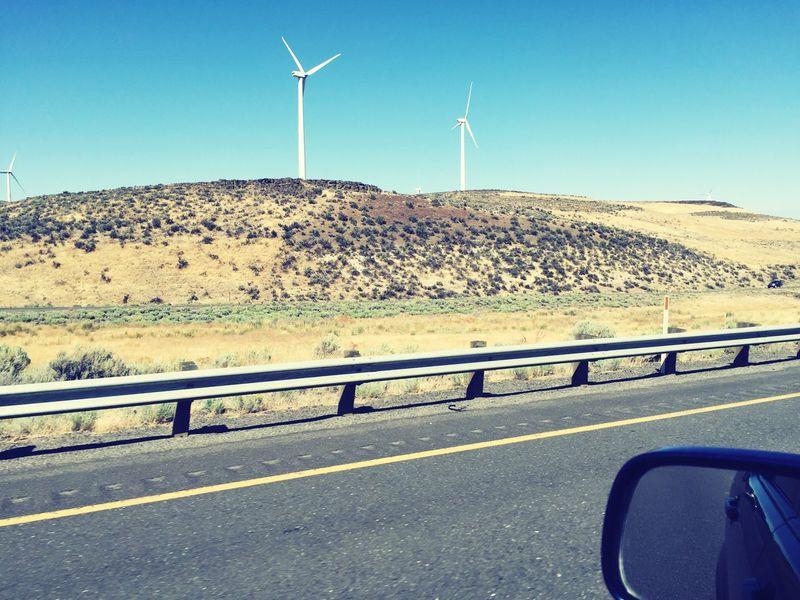 Roadtrip Renewable Energy Windmills Landscape Throughmywindshield See What I See Barren