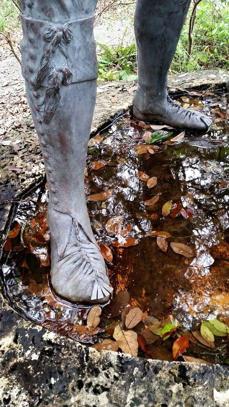 Miccosukee Footsteps Feet Statue Florida History Metal Sculpture Seminole