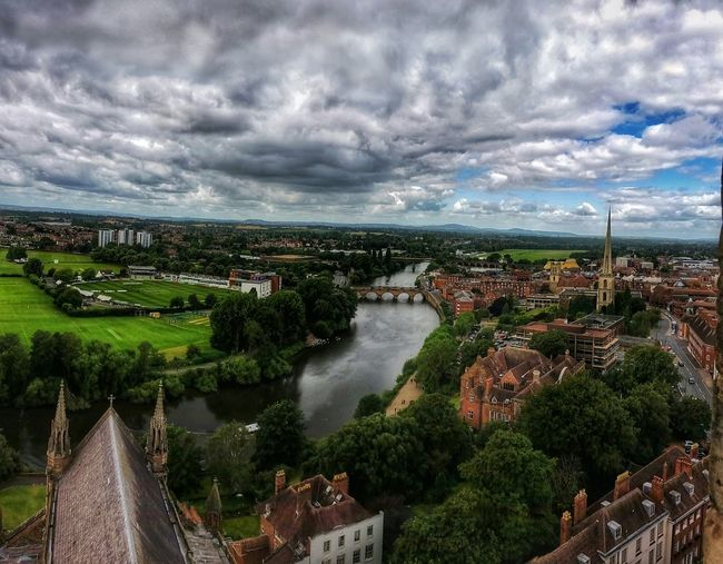Home Is Where The Art Is (Series 3 of ?) Series tribute to the music & home of Composer Edward Elgar ▶🎼 https://youtu.be/BQL2wh-o69U 🎧 [Violin sonata in E minor - 1st movement, Allegro] taken from the Bell Tower of Worcester Cathedral 235 steps up a spiral narrow stairway. Looking Northwards towards my Home which is just beyond the green field near the horizon. Worcester Cathedral England 🌹 I Love My Home A Bird's Eye View