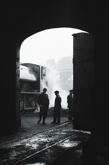 morning shift. colliery railway in Northumberland, 1970's. Built Structure Men Archway Arch Steam Steam Locomotive Engine Engine Shed