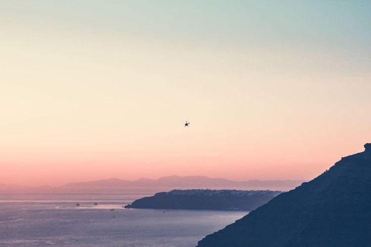 Scenic view of greek sea against sky during sunset