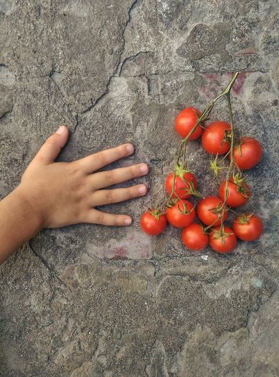 Cropped Hand By Tomatoes On Footpath
