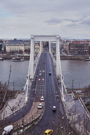 High angle view of suspension bridge