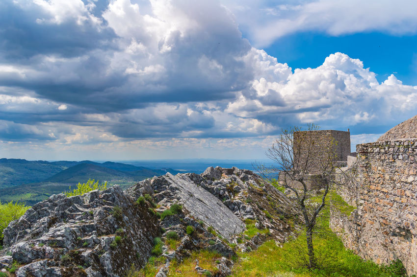 castelo de Marvão Ancient Architecture Beauty In Nature Building Building Exterior Built Structure Cloud - Sky Day Fort History Mountain Nature No People Outdoors Scenics - Nature Sea Sky Stone Wall The Past Tranquil Scene Wall Water