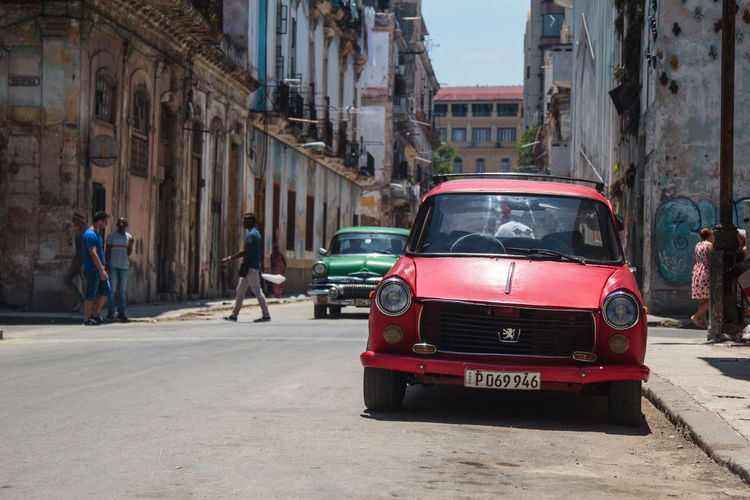 Architecture Building Building Exterior Built Structure Centro Hab City City Life City Street Cuban Cars Day Havana Land Vehicle Mode Of Transport Old Peugeot Oldtimer Outdoors Parked Parking Peugeot Red Car Red Oldtimer Sky Stationary