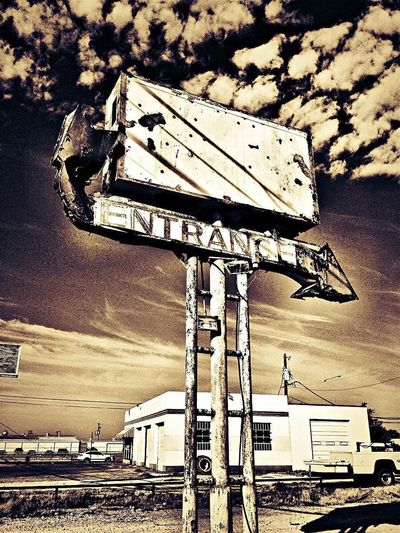 Signboard Sky Guidance Entrance Decay And Dereliction Abandoned Places Monochrome Photography