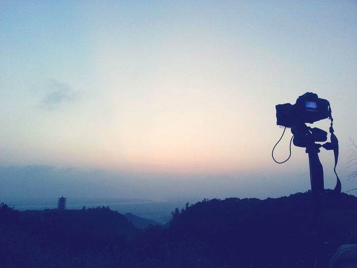 Photography Themes Camera - Photographic Equipment Sky Silhouette Photographer Tree Nature Sunset Outdoors Cloud - Sky Technology Beauty In Nature Drone  Day Dusk Wait Waiting Changhua, Taiwan Camera Travel ASIA