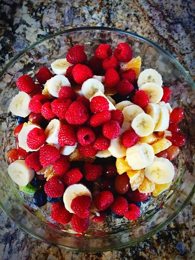 Thanksgiving Fruitsalad Fruits FRUIT SALAD!! YUMMY YUMMY  Foodphotography Fresh Fresh Produce Fruit Fruitporn Fruitphotography Colorful Raspberries Blueberries Banana Oranges Bowl Glass Marble Marbledstone Kitchen In My Kitchen Cooking Creating Healthy Healthy Eating
