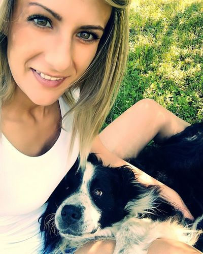 Young Women Pets Portrait Smiling Dog Beautiful Woman Looking At Camera Happiness Close-up