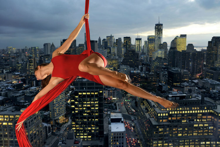 Acrobatic Acrobatics  Aerial Aerial Acrobatics Legs Manhattan Model New York New York City USA Woman Aerial Silks Silk Tissue Acrobatics Red Color Night Lights Night Photography The Creative - 2018 EyeEm Awards