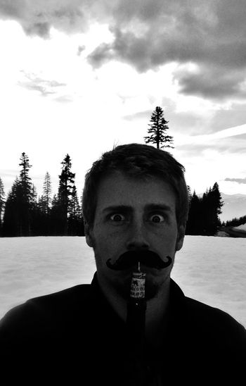 I mustache you a question Wine Time Having Fun That's Me! Looking At Camera Portrait Headshot Young Adult Sky Cloud - Sky One Mid Adult Man Only Mustache Mustache Man Bottle Opener Funny Humor Humorous Funny Picture Funny Faces Portrait Of A Man  In The Snow Snow And Sky Black And White Black And White Photography Black And White Collection  Black And White Portrait