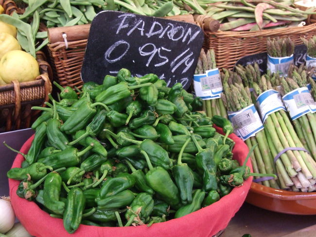 Green Color Groceries Market Stall Padron Peppers Pimentos Pimentos De Padron Tapas Vegetables