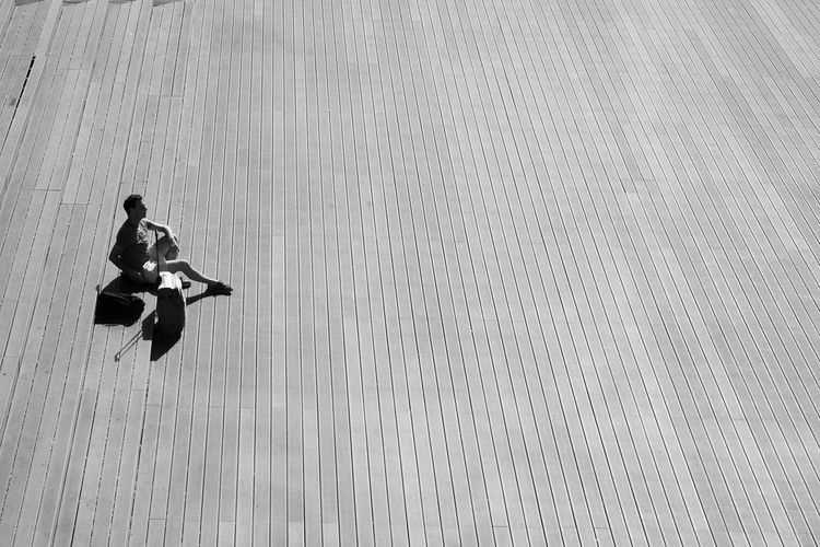 High angle view of woman jumping