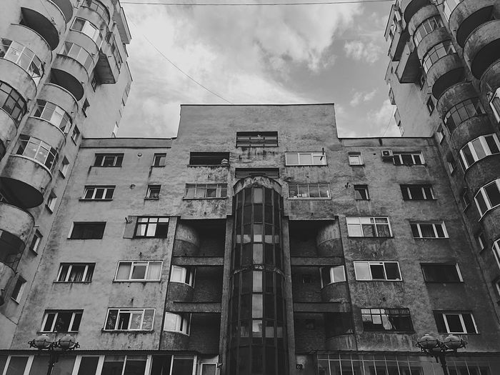 Decoration Blackandwhite Black And White Bnw Romania Communism Communist Architecture Architecture Built Structure Building Exterior Architecture Sky Cloud - Sky Low Angle View Building City Day Outdoors Travel Destinations Street Nature No People Tourism Window Wall - Building Feature Tall - High Architecture Low Angle View City Apartment The Art Of Street Photography