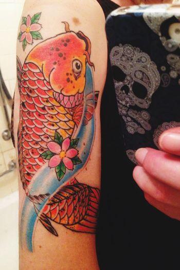Hi this is my first photo on here Tattoo Tattooed Koi Fish Koi Tattoo Full Frame Body Part Bodyart First Eyeem Photo