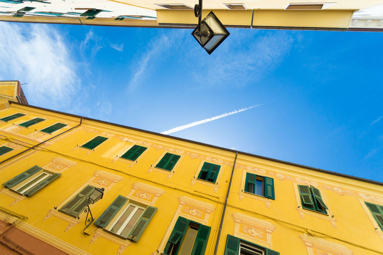 Yellow Low Angle View Sky Architecture Window Building Exterior Cloud - Sky Day Built Structure No People Outdoors Apartment Liguria Italy Italy🇮🇹 Porto Maurizio Multi Colored Village Italy❤️ Travel Destinations History Low Angle View Architecture