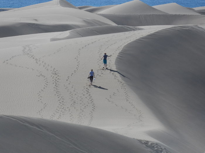 High angle view of women on sand at desert