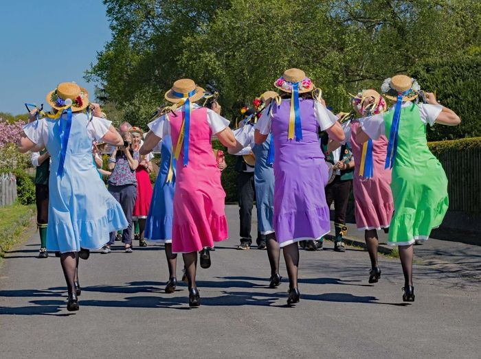 Morris Dancers Representing Multi Colored Togetherness Group Of People Full Length Arts Culture And Entertainment Tree Tradition Well-dressed Dancing Traditional Dancing Festival Stage Costume Dancer