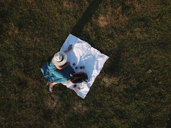 Couple Life Man Nature Picnic Woman Aerial View Enjoying Life Lifestyle Photography Summer Top View Young Adult