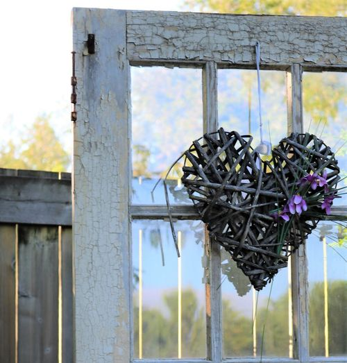 Antique Country Country Living Aged Aged Wood Design Door Flowers Heart Heart Shape Purple Flower Sticks Window Window Panes Wood - Material The Still Life Photographer - 2018 EyeEm Awards