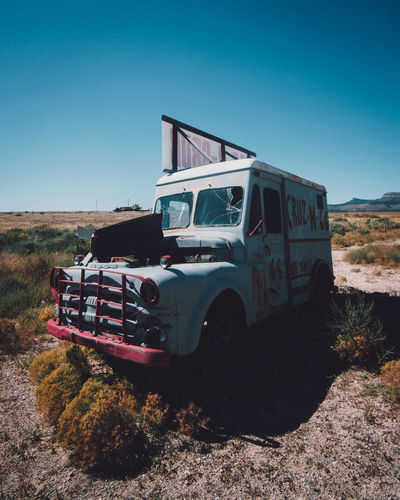 Cruz n 66 Transportation Mode Of Transportation Land Vehicle Sky Motor Vehicle Nature Clear Sky Land Day Car Field Abandoned Landscape No People Plant Copy Space Damaged Environment Stationary Road Outdoors Route 66 USAtrip USA California