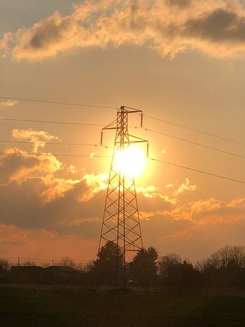 Silhouetted pylon Sunset Silhouette Sunset Cloud - Sky Cable Sky Low Angle View Electricity  Connection Electricity Pylon Landscape Outdoors