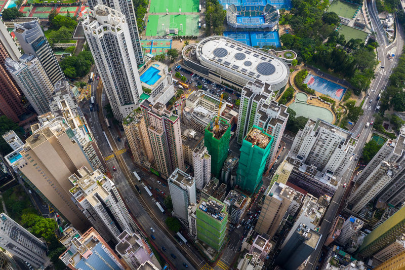 Hong Kong Hong Kong Top View Downtown City Causeway Bay Aerial Building Skyline Cityscape Landscape Urban Sky Travel Architecture Tower Landmark Skyscraper Metropolis Business Fly Drone  Over Above Down Top Down Bird Eye Hk Hong Kong