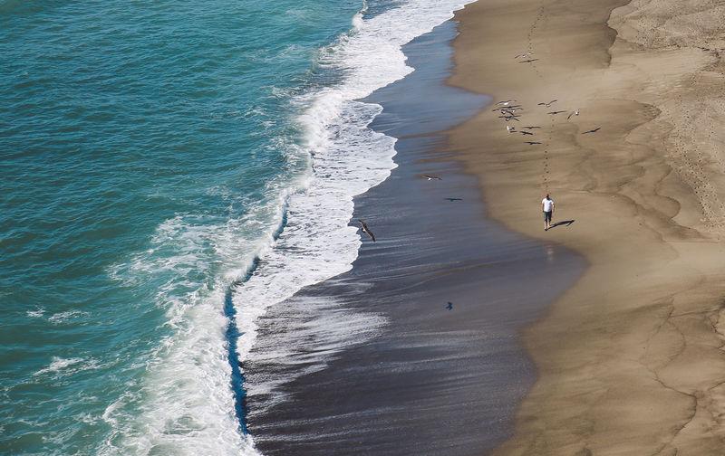 High angle view of man walking on beach