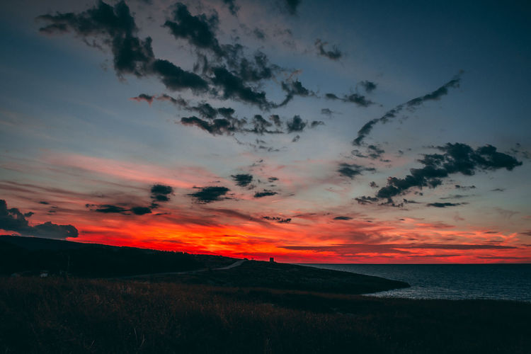 EyeEm Best Shots EyeEm Nature Lover Red Sky And Clouds The Week On EyeEm Beauty In Nature Beauty In Nature Blue Nature No People Outdoors Scenics Sea Seaside Silhouette Sky Sunset Tranquil Scene Tranquility Water