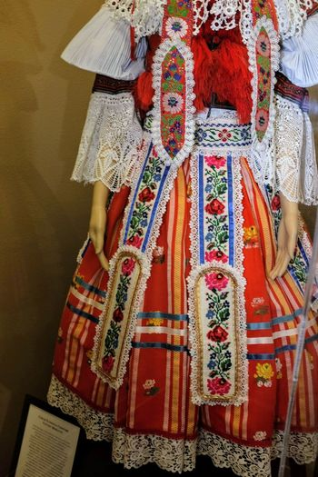 Close-up of traditional dress on mannequin