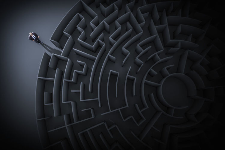 maze Business Labyrinth Man Maze Path Unknown Black Background Challenge Difficult Direction Indoors  Male Pattern Puzzle  RISK Way