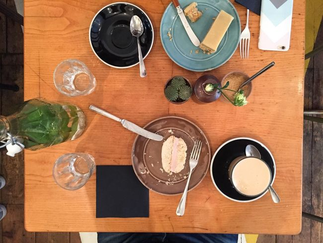 Wooden Table Coffee Cake Crumbs Mint Water Knives Forks In The Middle Of Breakfast Brunch Cactus Glasess Water Phone Case Sitting At Table View From Above Plates Blue Black Brown Knapkin My Favorite Breakfast Moment