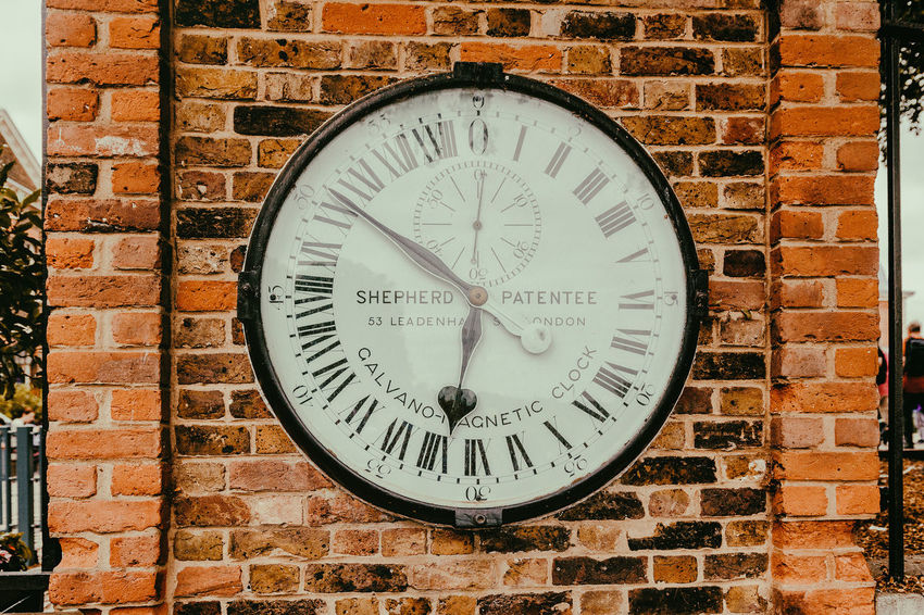 Greenwich Royal Observatory Accuracy Architecture Brick Brick Wall Built Structure Circle Clock Clock Face Design Geometric Shape Instrument Of Time Minute Hand No People Number Old Shape Time Wall Wall - Building Feature Wall Clock
