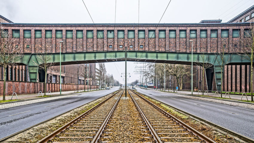 Architecture Bridge - Man Made Structure Built Structure Connection Day No People Outdoors Rail Transportation Railroad Track Rails Rust Rusty Schienen Sky The Way Forward Tram Transportation