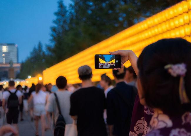 Mitama Matsuri in Yasukuni Jinja, Tokyo, Japan. Japan Lanterns Matsuri Mitama Matsuri Night Lights Screen Tokyo Yasukuni Yasukuni Shrine Adult City Crowd Festival Group Of People Illuminated Large Group Of People Lifestyles Night Outdoors Real People Selective Focus Smartphone Spectator Summer Yellow Color