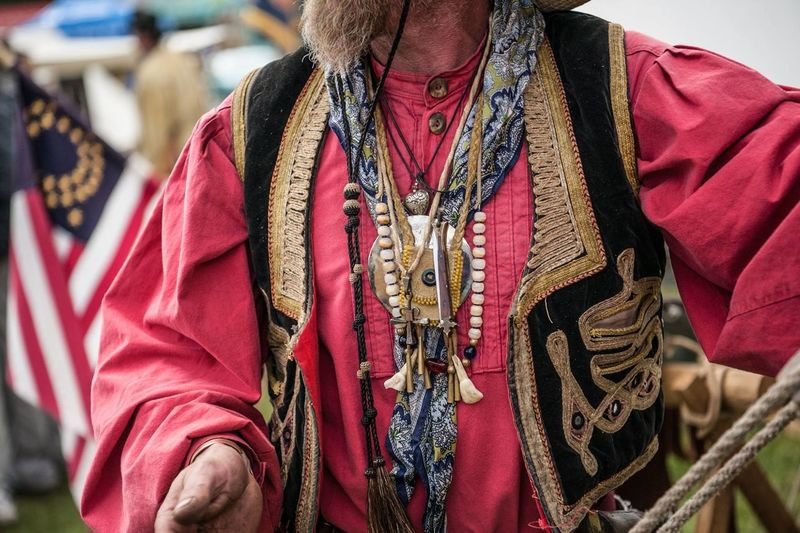 Close-up of man wearing traditional clothing
