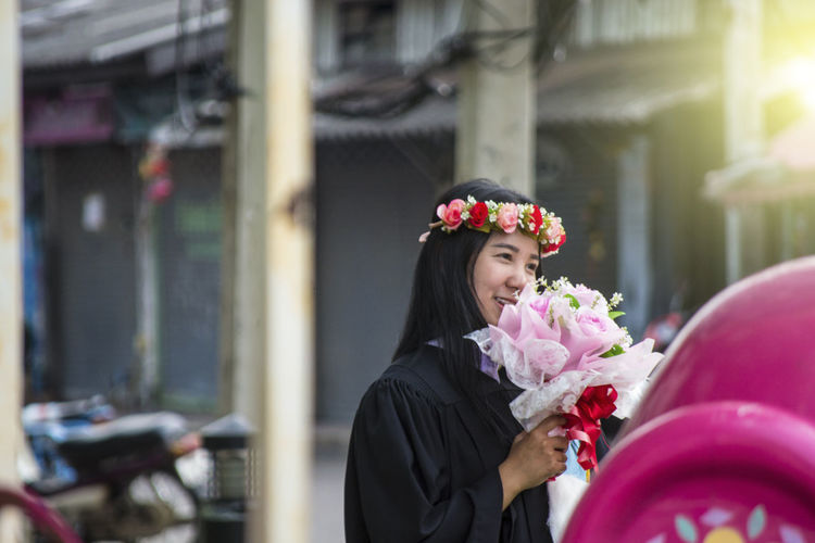 Flower Flowering Plant One Person Women Plant Adult Standing Portrait Young Adult Clothing Real People Day Lifestyles Looking Focus On Foreground Front View Architecture Selective Focus Females Wearing Flowers Outdoors Beautiful Woman International Women's Day 2019