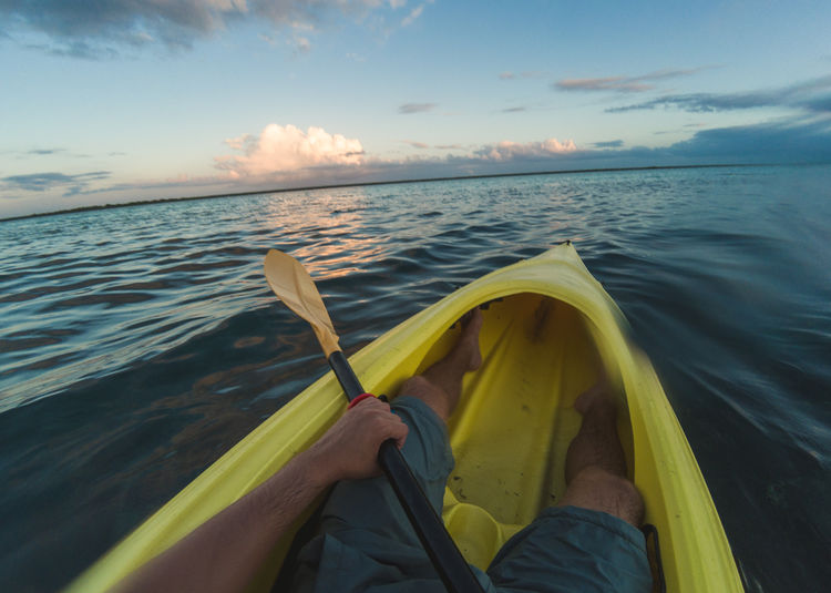 Bacalar Kayaking Mexico Boat Cloud - Sky Horizon Over Water Human Leg Kayak Low Section Mode Of Transport Nature Outdoors Personal Perspective Sports Transportation Water